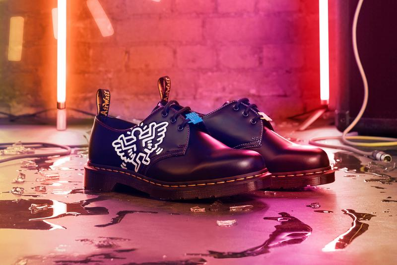 Dr. Martens Keith Haring Collaboration Boots Shoes 1461 Black Patterns Illustrations Derby Neon Light