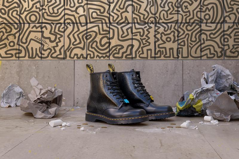 Dr. Martens Keith Haring Collaboration Boots Shoes 1460 Black Pattern Illustrations Wall Mural NYC