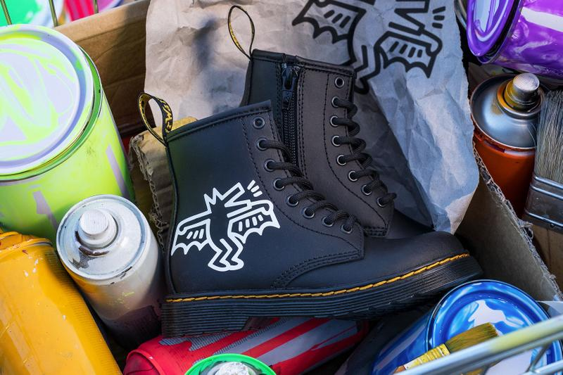 Dr. Martens Keith Haring Collaboration Boots Shoes 1460 Black Patterns Illustrations Art Yellow Stitching