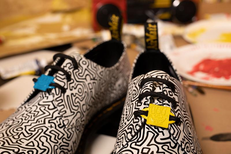 Dr. Martens Keith Haring Collaboration Boots Shoes 1461 Derby White Black Illustrations Drawings Art Charms Yellow Blue