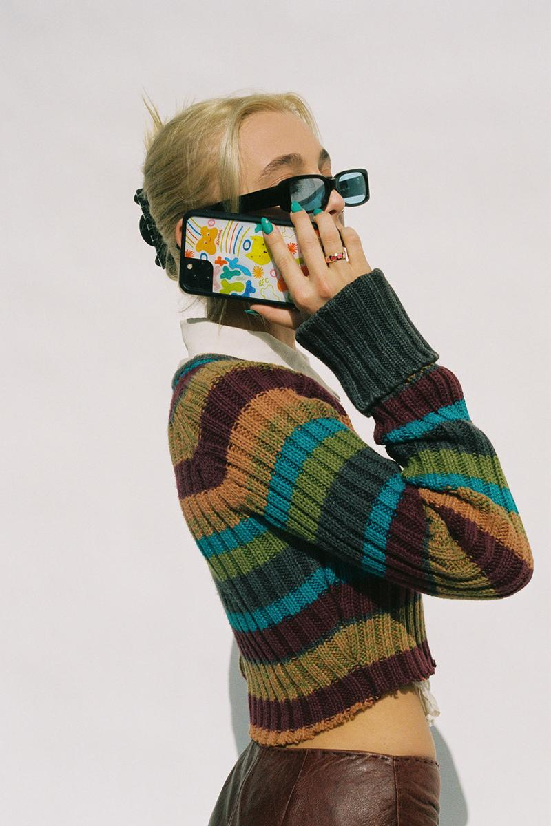 emma chamberlain wildflower iphone cases collaboration sunglasses knit sweater stripes