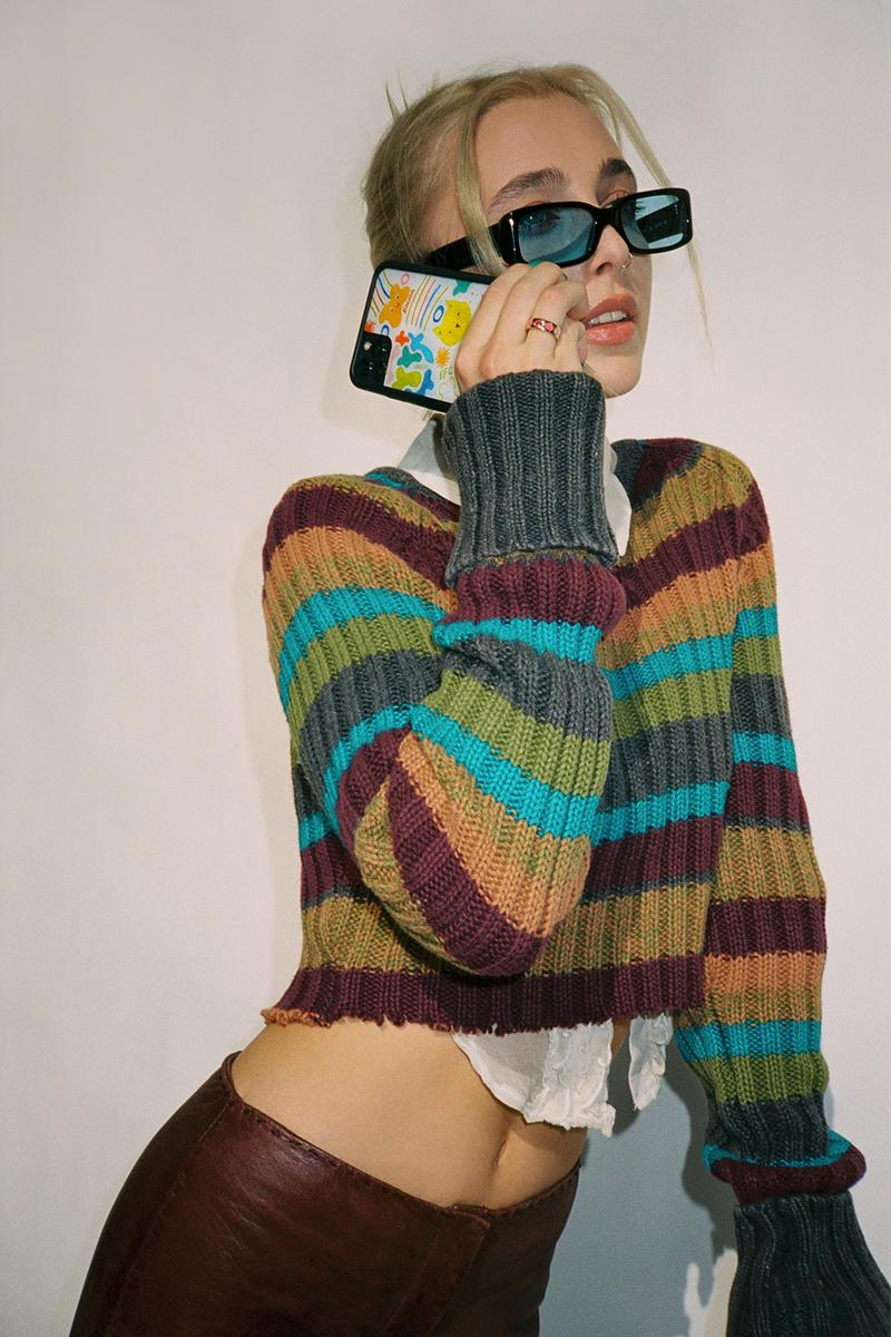 emma chamberlain wildflower iphone cases collaboration knit sweater stripes outfit