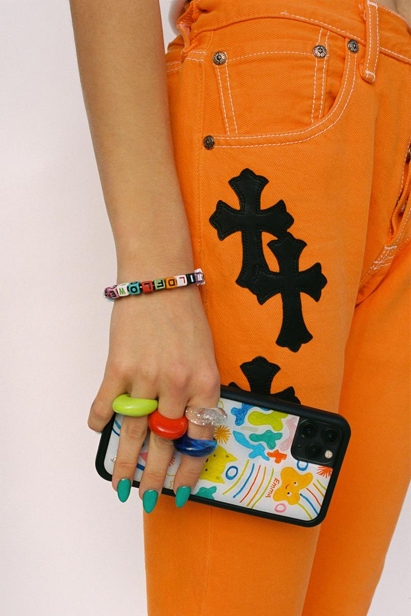 emma chamberlain wildflower iphone cases collaboration orange jeans trousers chrome hearts