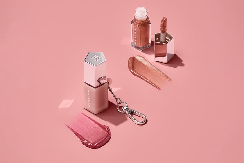 fenty beauty rihanna lip gloss bombs mini lip duo keychain holder pink makeup glow pink dragonfly swatch