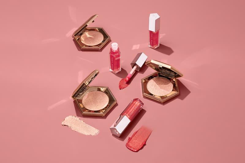 fenty beauty rihanna lunar new year set lip gloss bomb universal luminizer diamond all over highlighter makeup