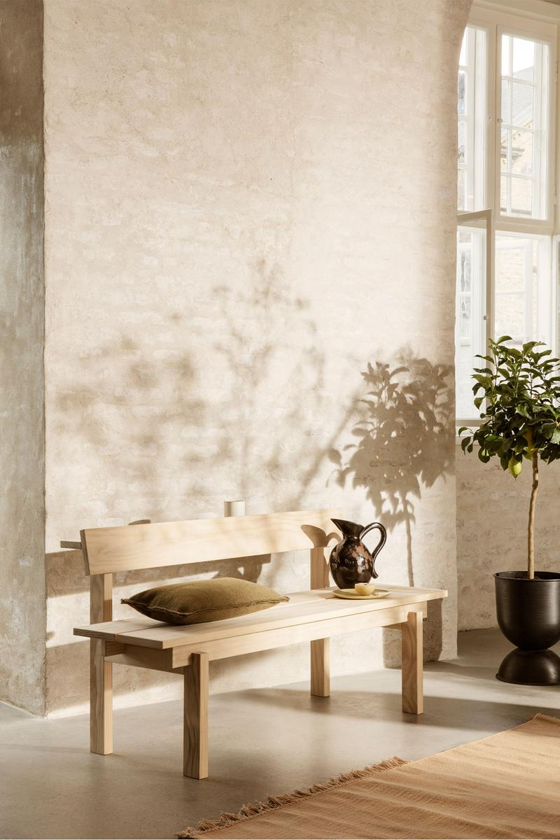 ferm living spring summer ss21 pre collection outdoor poetry furniture homeware wood bench watering jug can