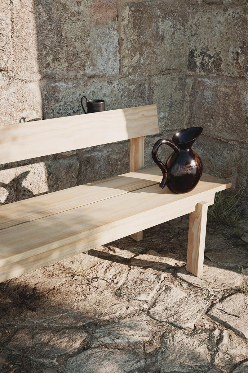 ferm living spring summer ss21 pre collection outdoor poetry furniture homeware lounge chair wood bench watering jug vase