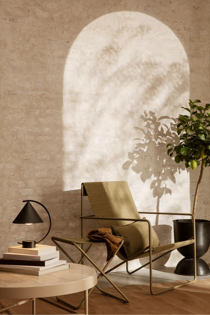 ferm living spring summer ss21 pre collection outdoor poetry furniture homeware lounge chair side table lamp