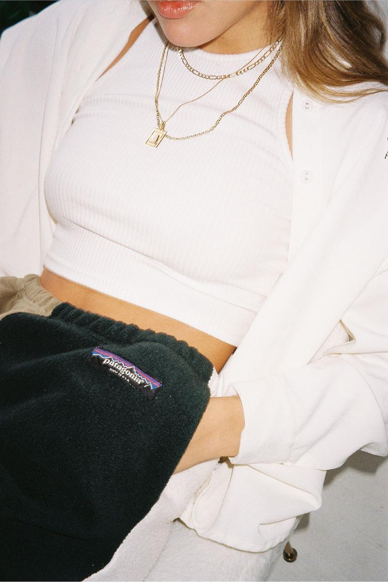 patagonia frankie collective reworked upcycled repurposed sustainable eco-friendly white cropped top patchwork sweatpants