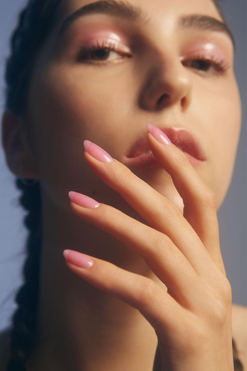 gelcare y2k manicure gel nail polish capsule collection 2000s nostalgia pink jelly closeup braids