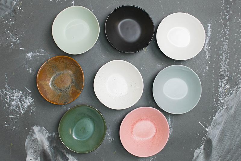 Haand Porcelain Tableware Ceramics Dinnerware Bowls Handmade Pastel Pink Green Blue White Brown