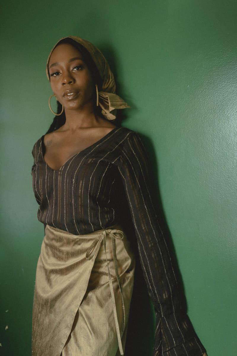 house of aama nude capsule collection black owned blouses skirts scarves lookbook hoop earrings jewelry