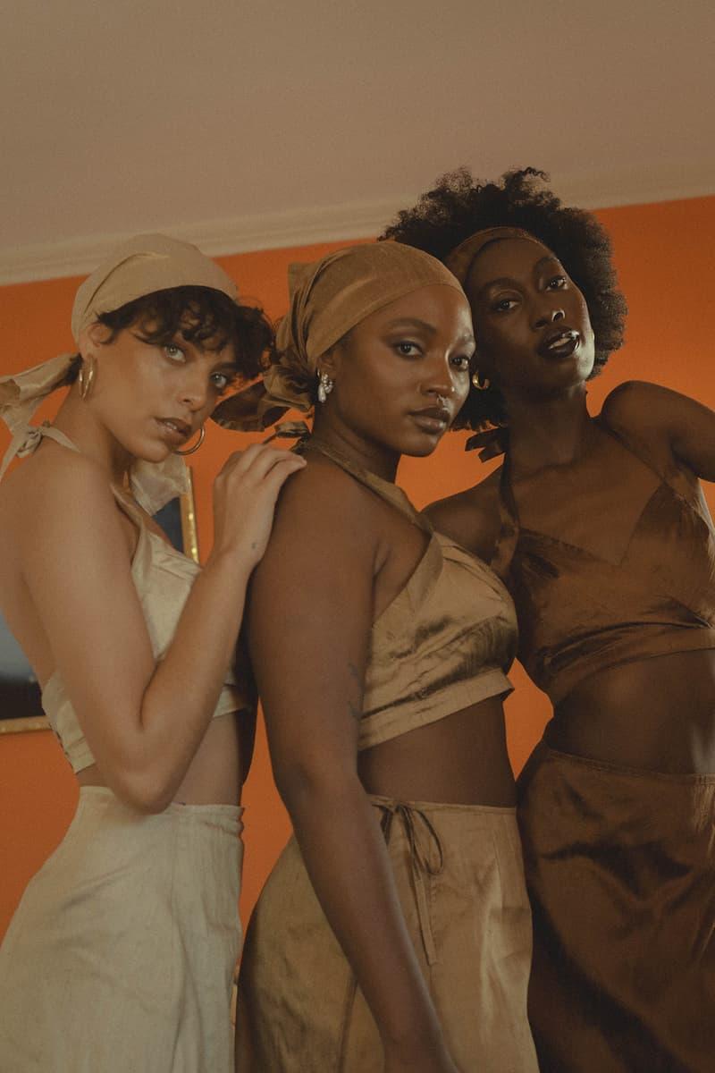 house of aama nude capsule collection black owned blouses halter tops skirts scarves lookbook hoop earrings jewelry