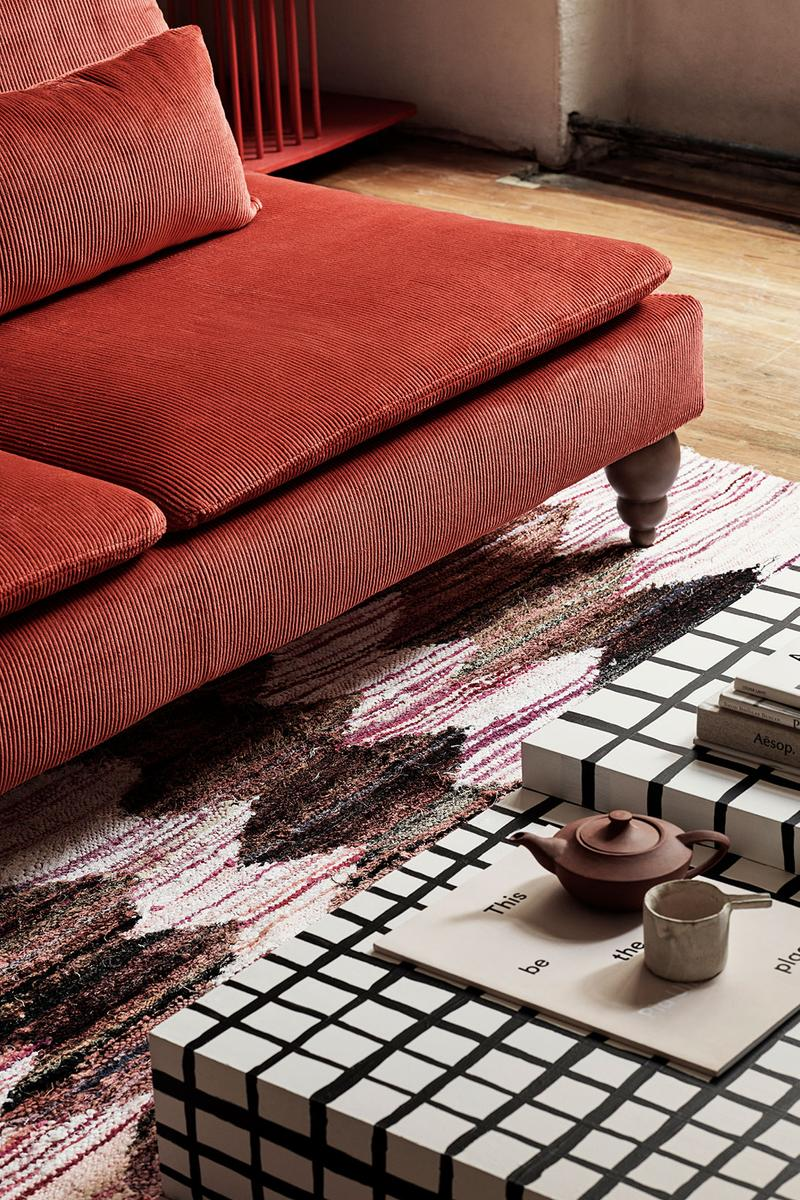 ikea sofa couch corduroy cover apartment therapy bemz maxwell ryan collaboration brick red carpet living room