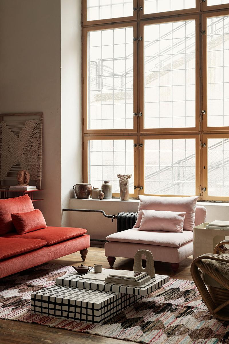 ikea sofa couch corduroy cover apartment therapy bemz maxwell ryan collaboration window loft brick red blush pink arm chair