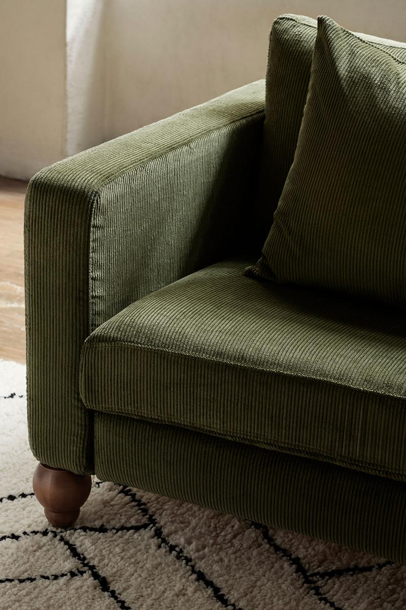 ikea sofa couch corduroy cover apartment therapy bemz maxwell ryan collaboration moss green carpet rug