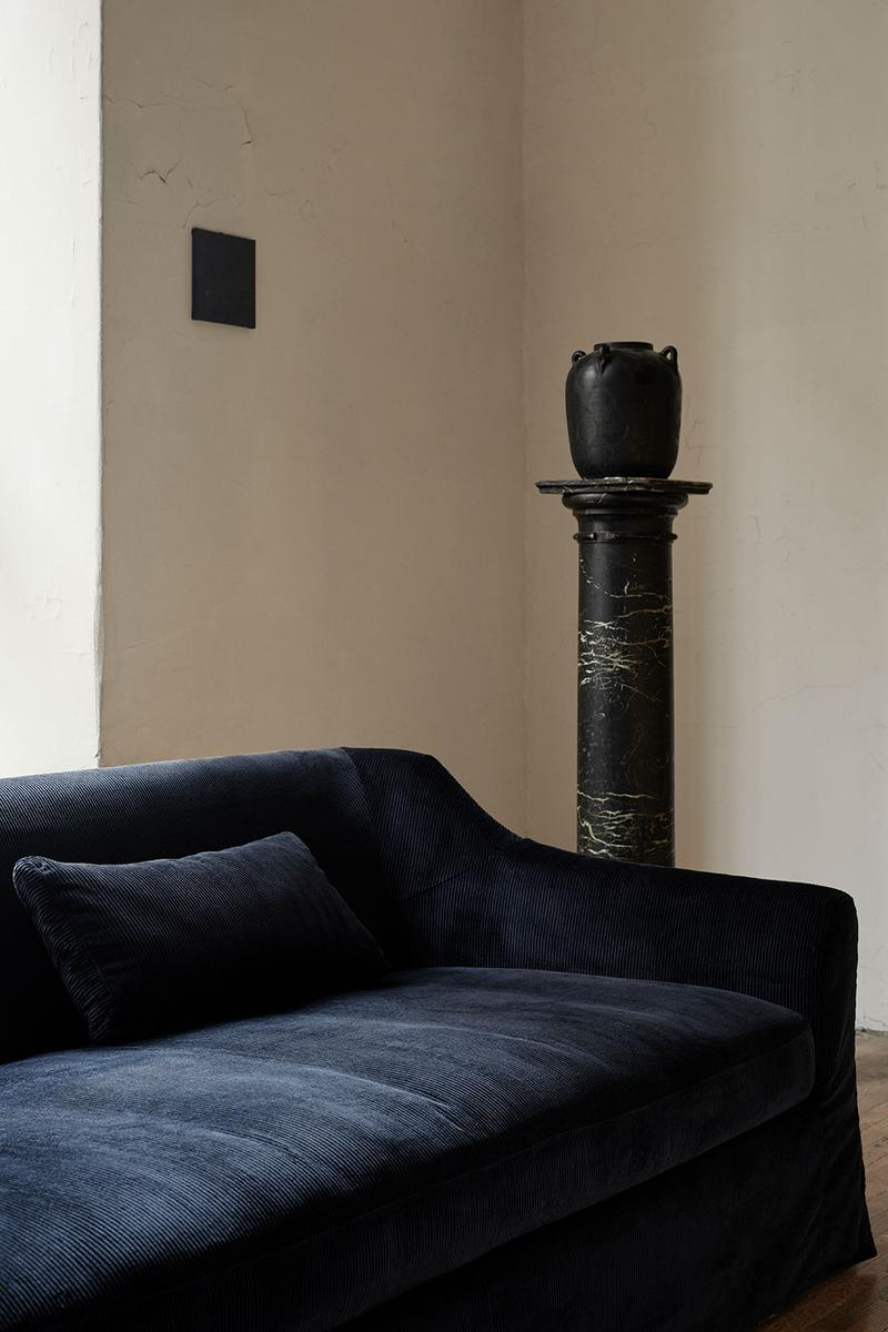 ikea sofa couch corduroy cover apartment therapy bemz maxwell ryan collaboration navy blue