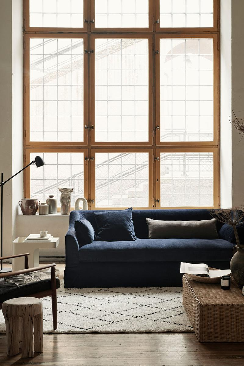 ikea sofa couch corduroy cover apartment therapy bemz maxwell ryan collaboration navy blue window loft
