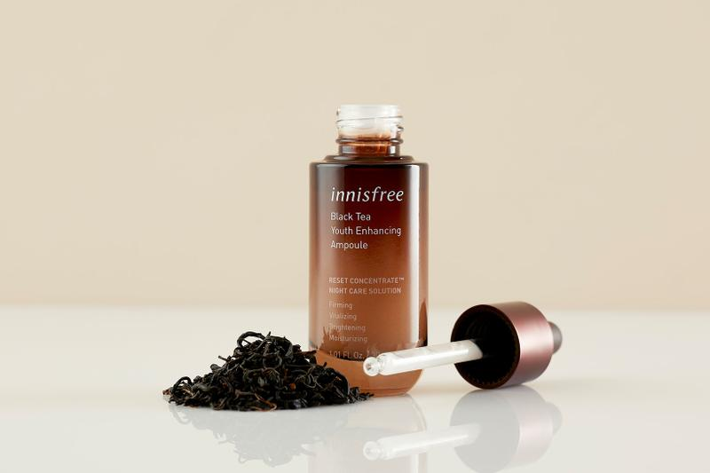innisfree black tea youth enhancing line products collection k-beauty skincare ampoule night