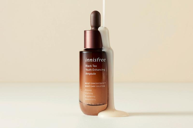 innisfree black tea youth enhancing line products collection k-beauty skincare ampoule