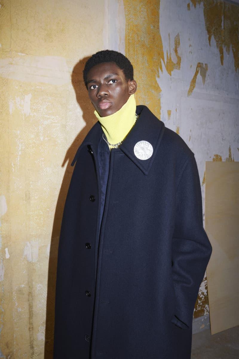 jil sander menswear fall winter fw21 collection lookbook black coat yellow collar knitwear sweater