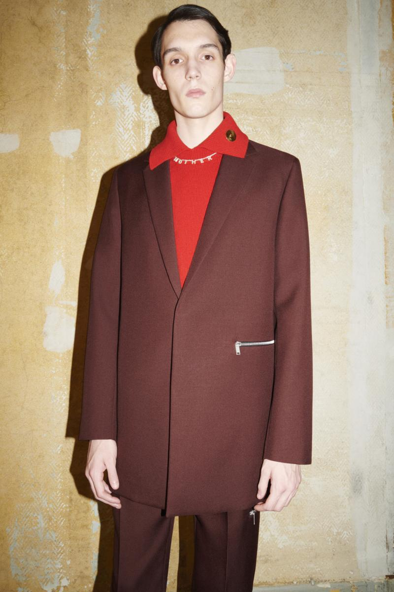 jil sander menswear fall winter fw21 collection lookbook red brown jacket red knit