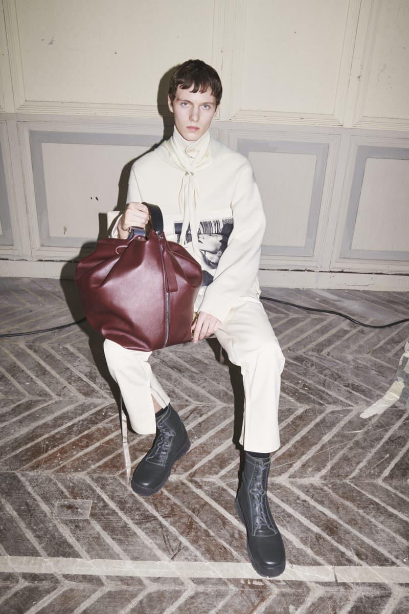 jil sander menswear fall winter fw21 collection lookbook white trousers knit sweater burgundy bag