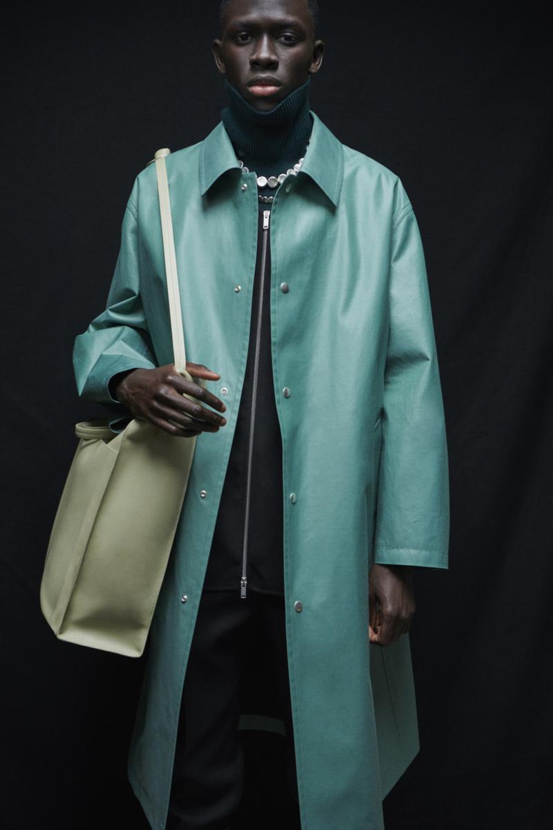 jil sander menswear fall winter fw21 collection lookbook teal turquoise leather coat bag