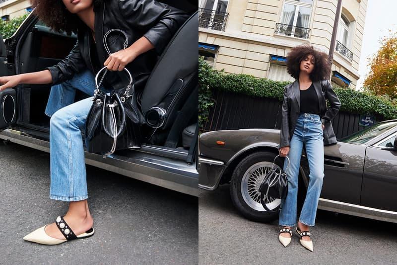 jimmy choo spring collection campaign sharon alexie black bon bon bag basette flat sandals car denim jeans tank top leather jacket