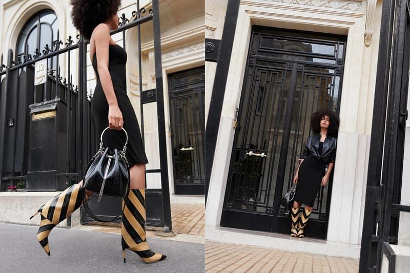 jimmy choo spring collection campaign sharon alexie black dress leather shirt bon bon bag beren 85 heeled boots stripes mustard yellow