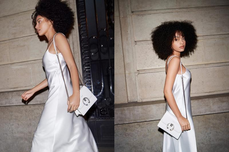 jimmy choo spring collection campaign sharon alexie white silk dress madeline crossbody bag white