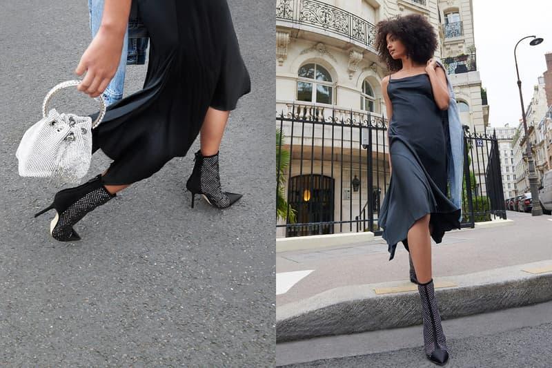 jimmy choo spring collection campaign sharon alexie black beren 85 boots heels dress bon bon bucket bag crystal silver white