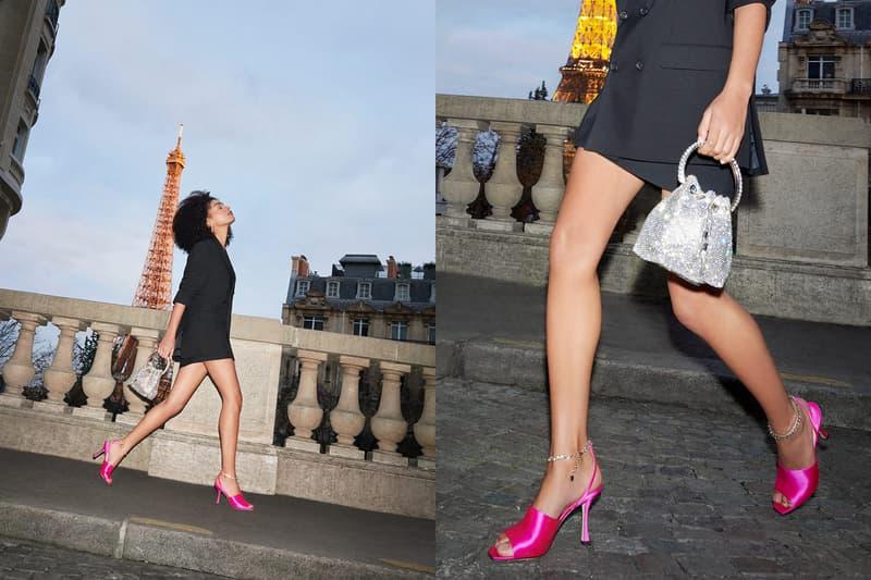 jimmy choo spring collection campaign sharon alexie sae 90 hot pink heels bon bon bucket bag silver crystals eiffel tower paris black blazer skirt