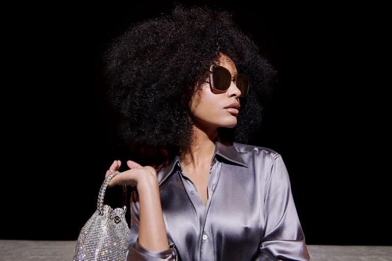 jimmy choo spring collection campaign sharon alexie shades glasses silk top shirt bon bon bucket bag