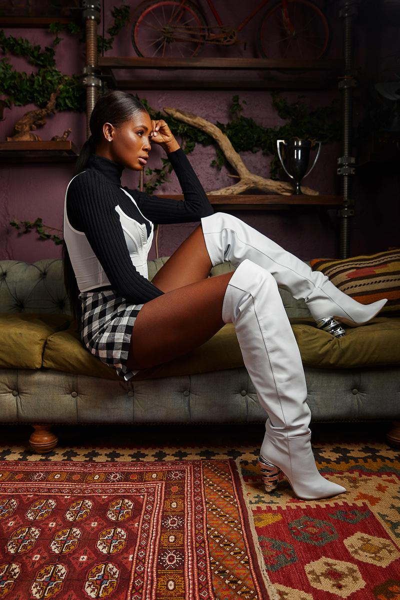 keeyahri zerina akers shoes collaboration thigh high boots white sweater skirt carpet rug