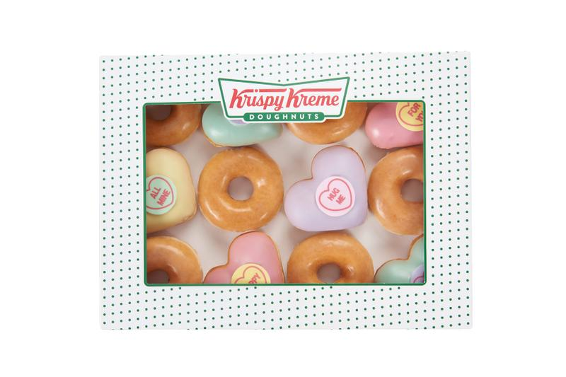 krispy kreme swizzels heart shaped donuts valentines day collaboration dessert box pink green purple yellow