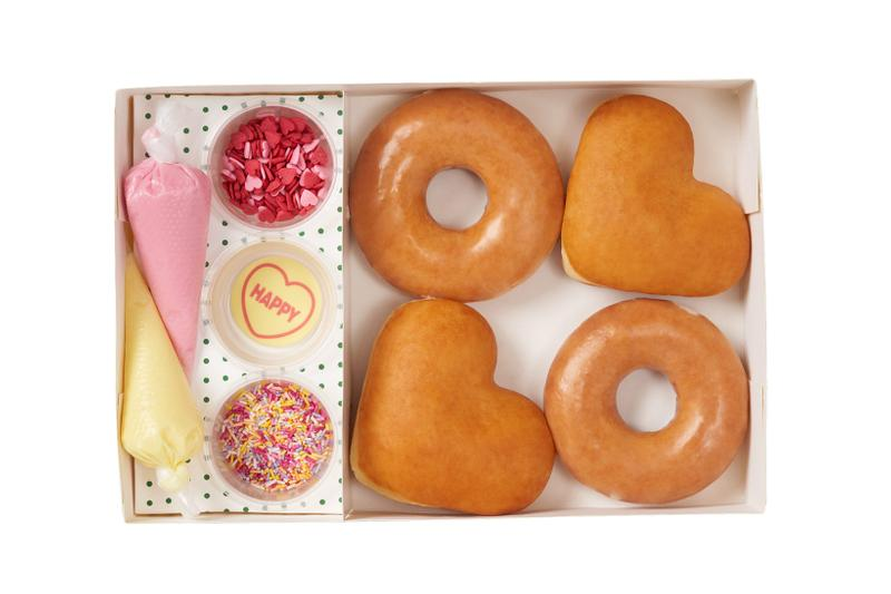 krispy kreme swizzels heart shaped donuts valentines day collaboration dessert diy piping bag icing sprinkles