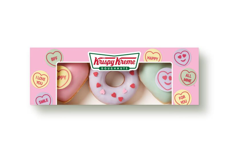 krispy kreme swizzels heart shaped donuts valentines day collaboration dessert purple green pink box