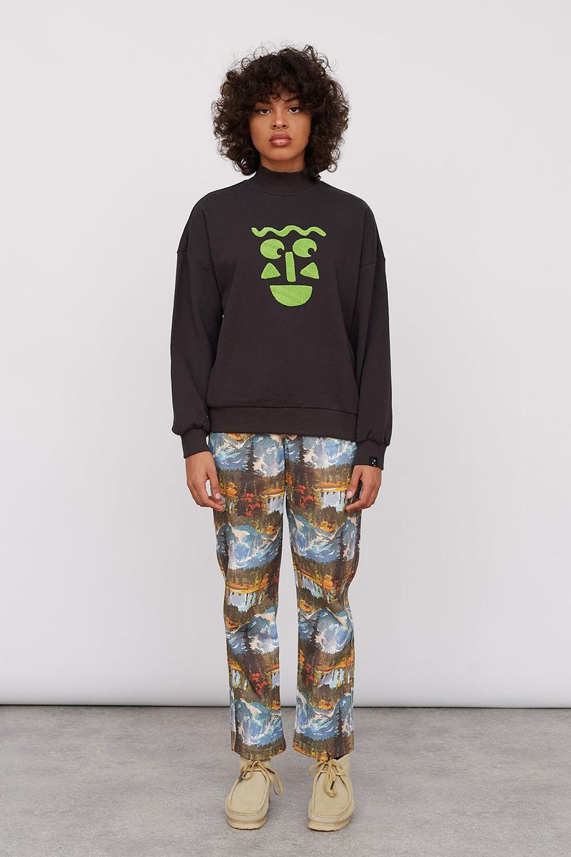Lazy Oaf Take A Hike Outdoor Hiking Collection Lookbook Smiley Face Sweater Pattern Trousers Clarks Wallabee