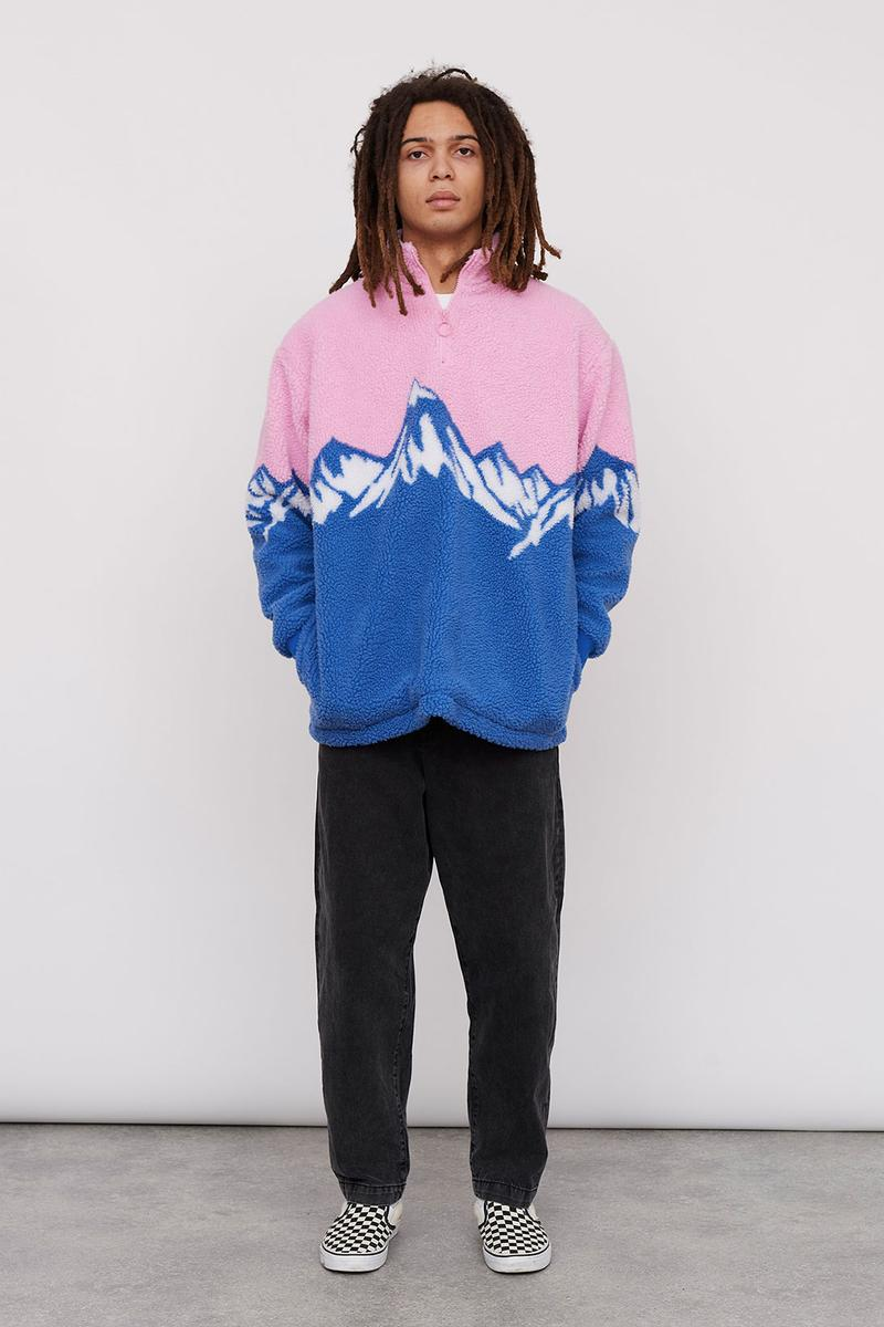 Lazy Oaf Take A Hike Outdoor Hiking Collection Lookbook Mountain Pink Blue Fleece Jumper