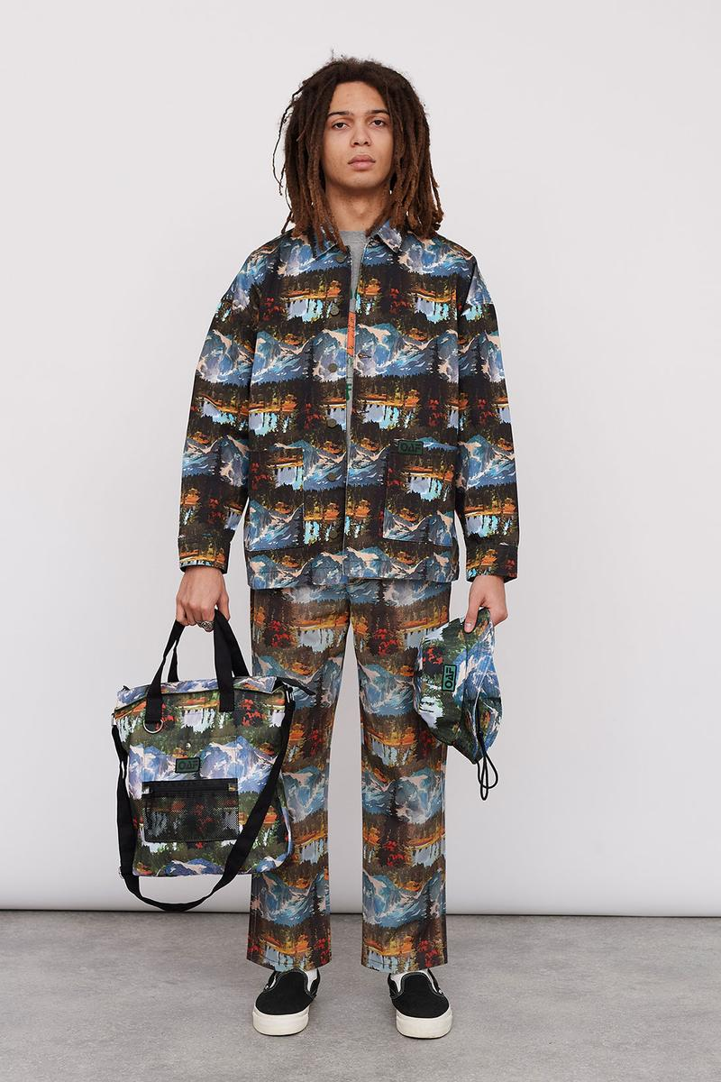 Lazy Oaf Take A Hike Outdoor Hiking Collection Lookbook Pattern Print Jacket Pants Backpack Bucket Hat