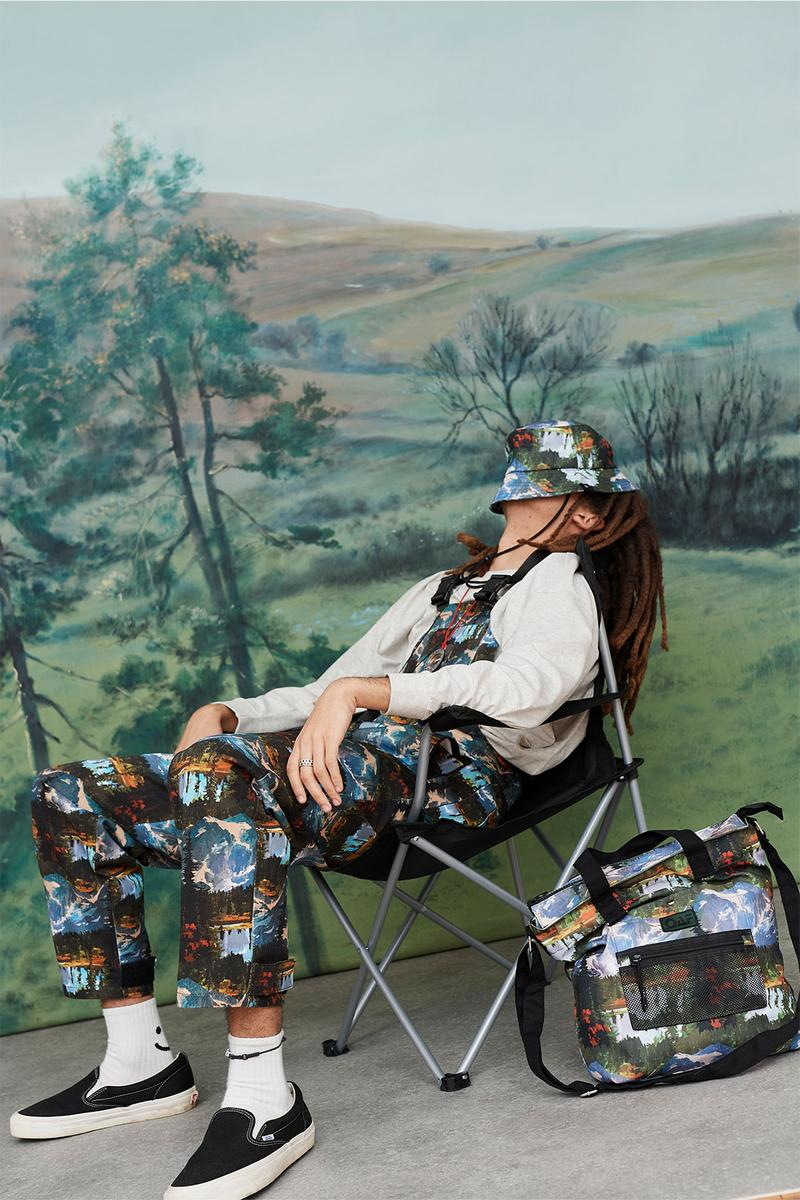 Lazy Oaf Take A Hike Outdoor Hiking Collection Lookbook Camping Chair Bucket Hat Pattern Print Overalls