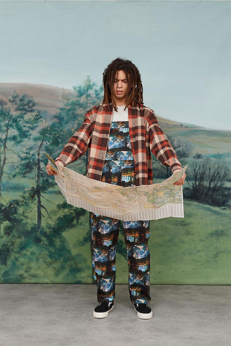 Lazy Oaf Take A Hike Outdoor Hiking Collection Lookbook Pattern Print Overalls Plaid Check Shirt