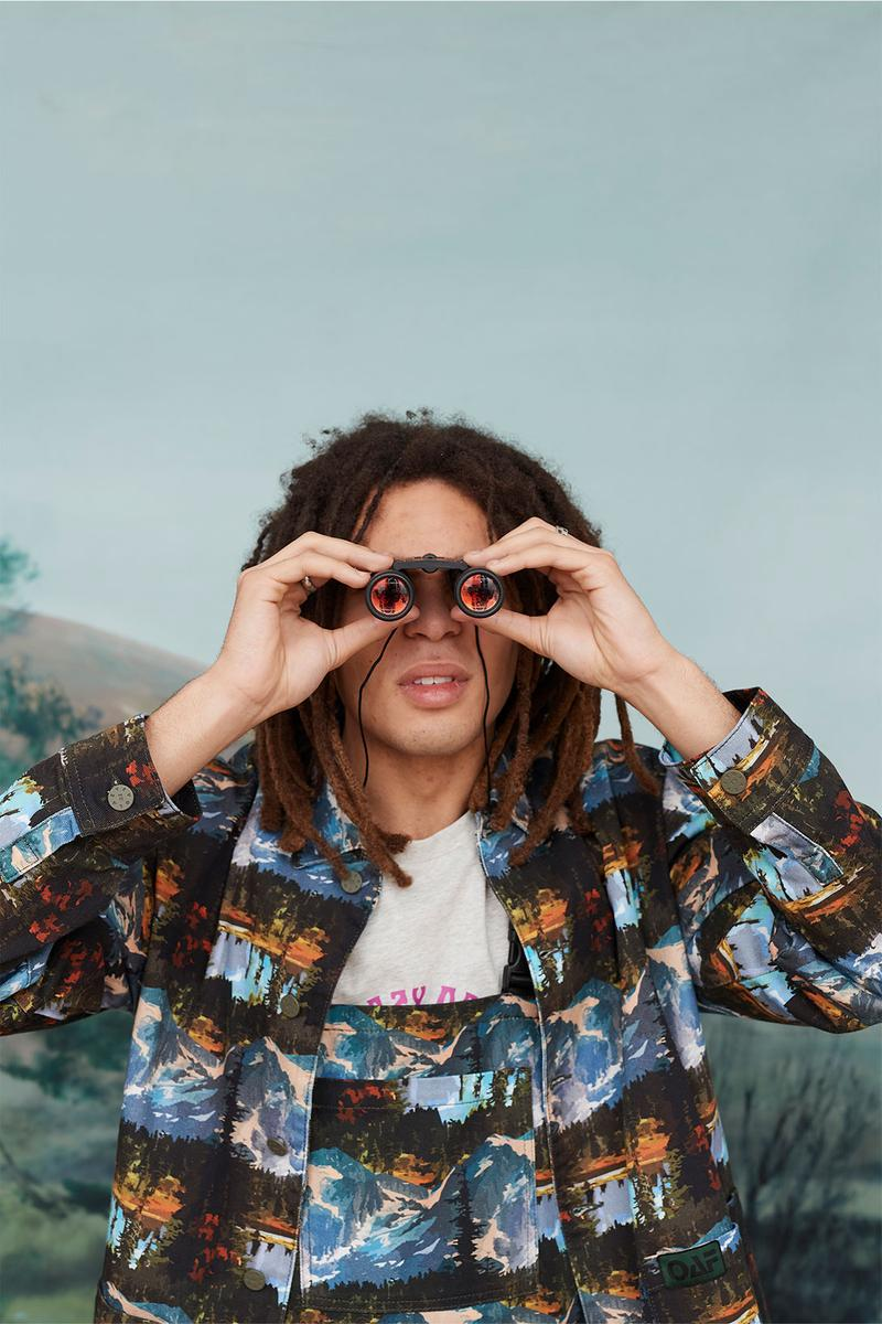 Lazy Oaf Take A Hike Outdoor Hiking Collection Lookbook Mountain Binoculars Print Pattern Shirt Overalls