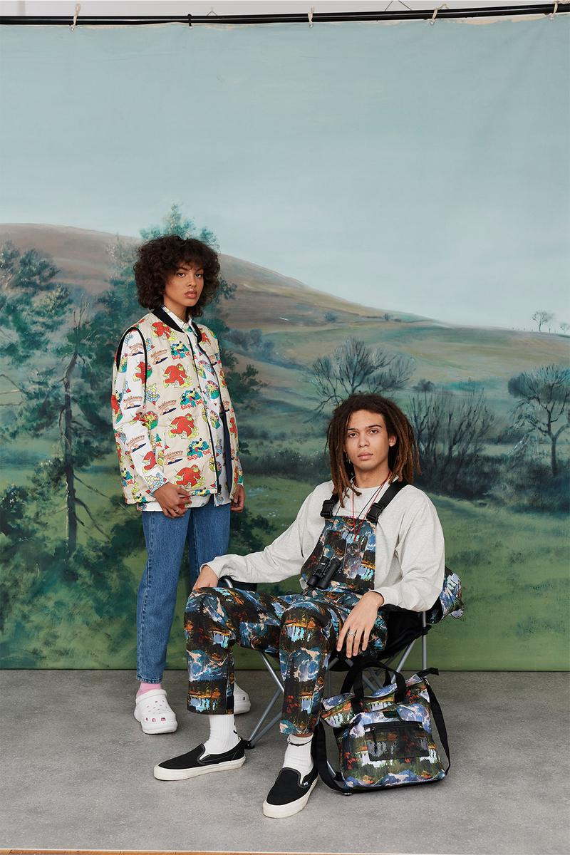 Lazy Oaf Take A Hike Outdoor Hiking Collection Lookbook Logo Print Pattern Vest Mountain Overalls Bag