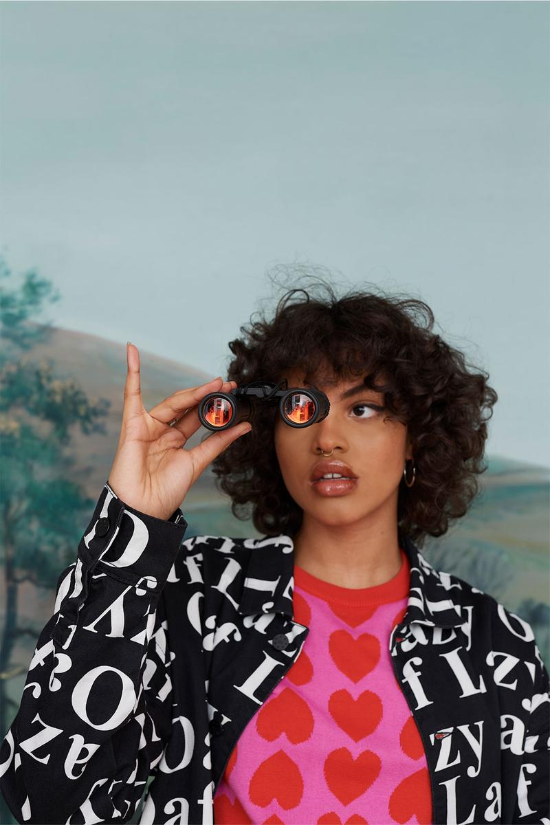Lazy Oaf Take A Hike Outdoor Hiking Collection Lookbook Binoculars Pink Hearts Logo Top