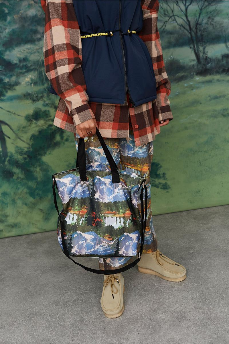 Lazy Oaf Take A Hike Outdoor Hiking Collection Lookbook Mountain Print Pattern Pants Tote Bag Clarks Wallabee