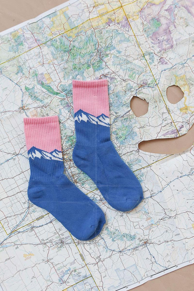 Lazy Oaf Take A Hike Outdoor Hiking Collection Lookbook Mountain Pink Blue Socks Map