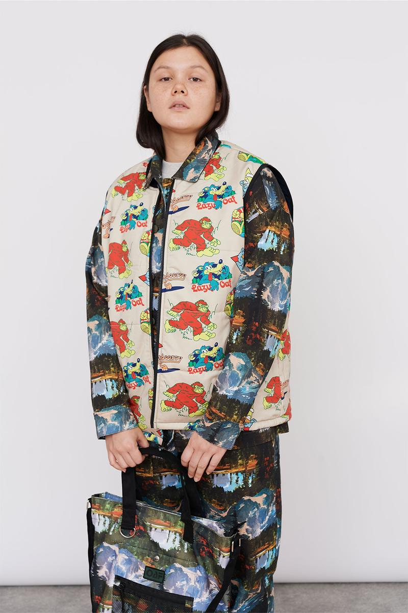 Lazy Oaf Take A Hike Outdoor Hiking Collection Lookbook Logo Pattern Print Vest Mountain Shirt Pants Trousers