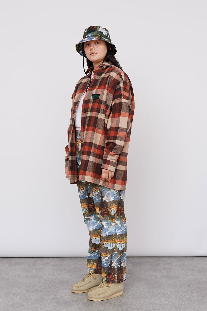 Lazy Oaf Take A Hike Outdoor Hiking Collection Lookbook Check Pattern Plaid Shirt Print Pattern Pants Clarks Wallabee